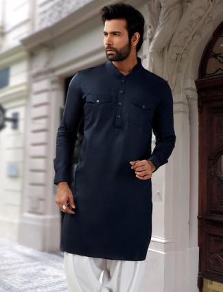 Cotton silk pathani suit in navy color