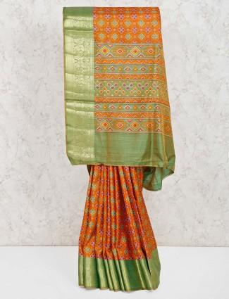 Cotton silk patola printed saree in orange