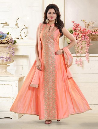 Cotton silk peach floor length anarkali suit