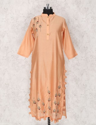 Cotton silk peach kurti