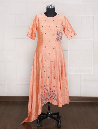 Cotton silk peach one piece suit for party