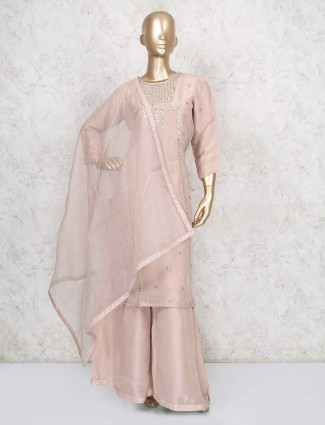 Cotton silk peach party wear punjabi palazzo suit