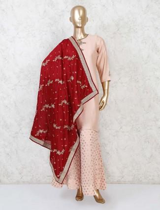 Cotton silk peach punjabi festive wear palazzo suit