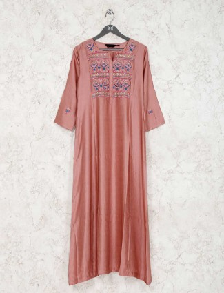 Cotton silk peach quarter sleeves kurti