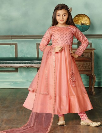 Cotton silk peach wedding function anarkali suit