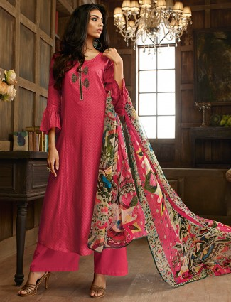 Cotton silk pink dressy salwar suit