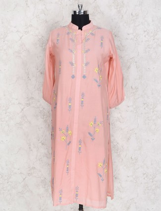 Cotton silk pink festive wear kurti