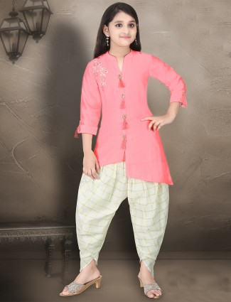 Cotton silk pink hue punjabi dhoti suit