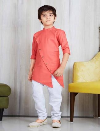 Cotton silk pink kurta suit