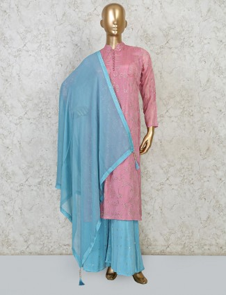 Cotton silk pink salwar suit party wear
