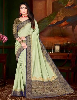 Cotton silk pista green festival wear saree
