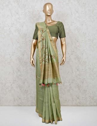 Cotton silk pista green saree for pretty womens