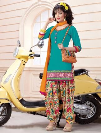 Cotton silk plain aqua ready made punjabi salwar suit