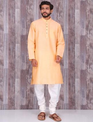 Cotton silk plain light orange kurta suit