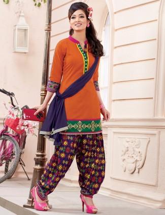 Cotton silk plain orange ready made punjabi salwar suit