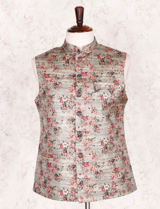 Cotton silk printed grey party wear waistcoat