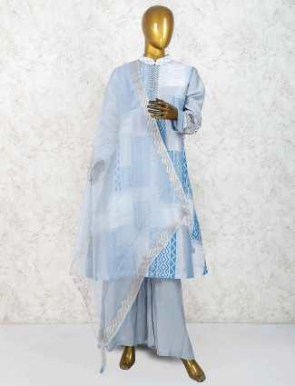 Cotton silk punjabi palazzo suit in grey hue