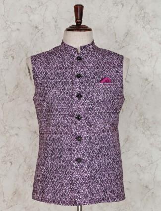 Cotton silk purple printed waistcoat