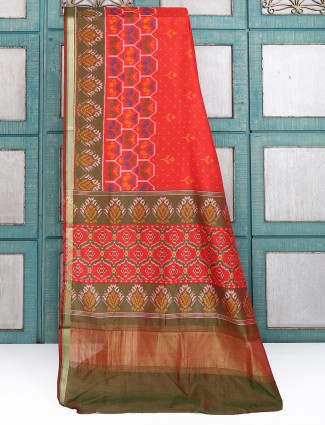 Cotton silk red color saree