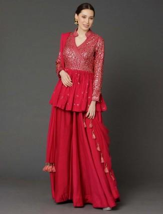 Cotton silk dark pink peplum style designer sharara suit