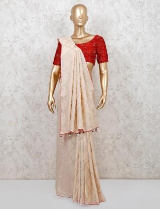 Cotton silk saree in beige color