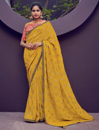 Cotton silk saree in yellow for festive function