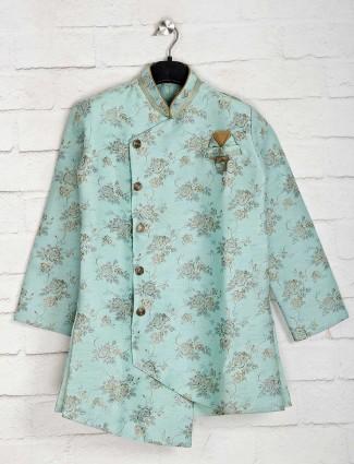 Cotton silk sea green indo western for wedding
