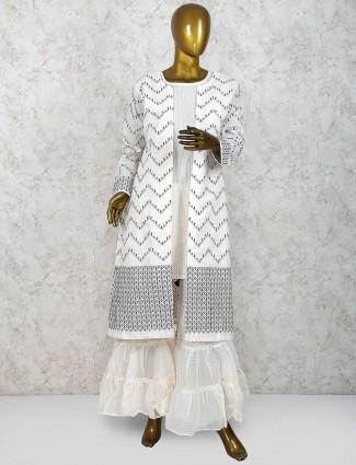 Cotton silk sharara suit in grey color