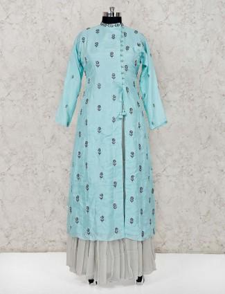 Cotton silk sky blue lehenga suit