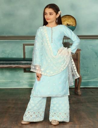 Cotton silk sky blue punjabi palazzo suit