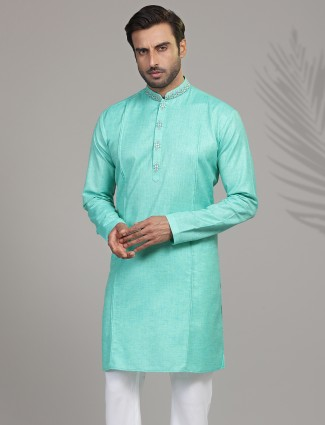 Cotton silk solid aqua festive wear kurta