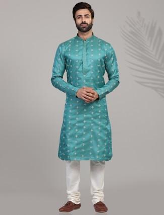 Cotton silk teal green kurta suit