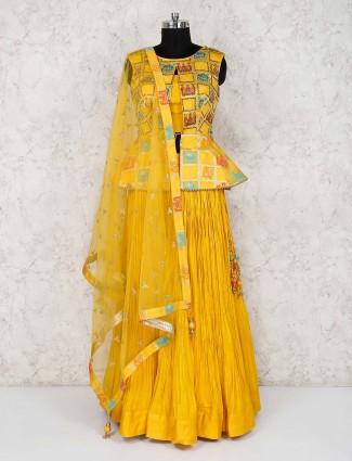 Cotton silk wedding yellow lehenga choli