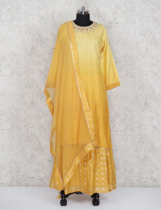 Cotton silk yellow color shaded pattern lehenga suit