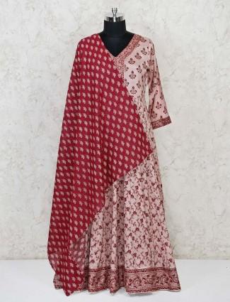Cotton silkl pink printed anarkali salwar suit