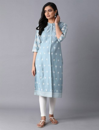 W cotton sky blue printed kurti for festive function