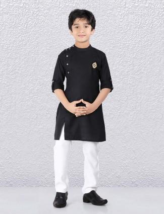 4d148ac38 Cotton solid jet black boys kurta suit
