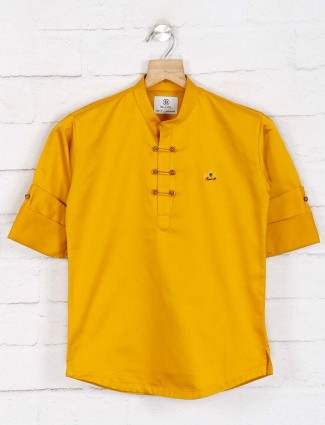 Cotton solid mustard yellow festive wear kurta suit