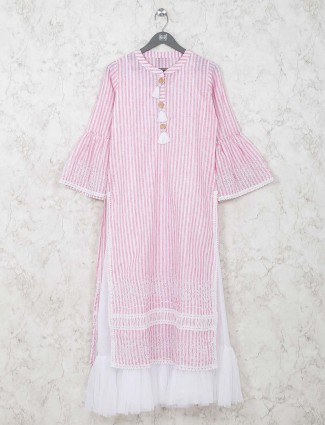 Cotton stripe double layer pink kurti