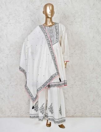 Cotton thread work white punjabi sharara suit