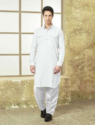 Cotton white color pathani suit