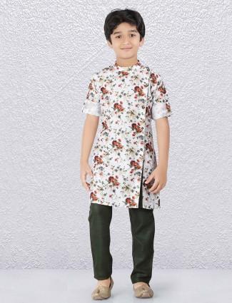 Cotton white designer flower printed kurta suit