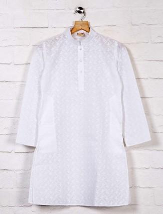 Cotton white festive kurta suit