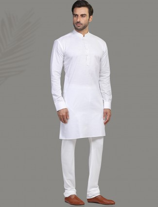 Cotton white full sleeve kurta suit