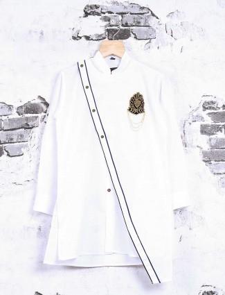 Cotton white party wear kurta suit