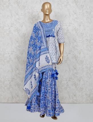 Cotton white printed punjabi style sharara suit
