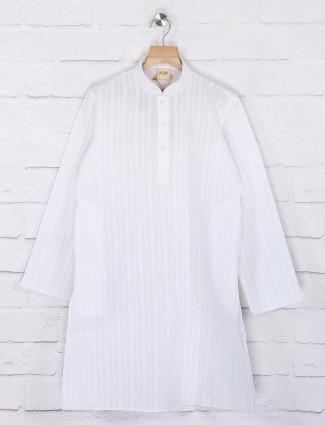 Cotton white simple stripe kurta suit