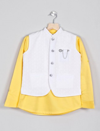 Cotton yellow and white waistcoat shirt