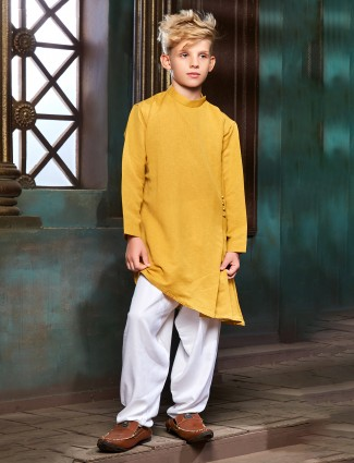 Cotton yellow color pathani suit