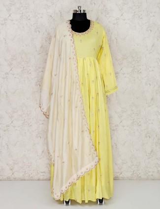 Cotton yellow floor length anarkali salwar suit